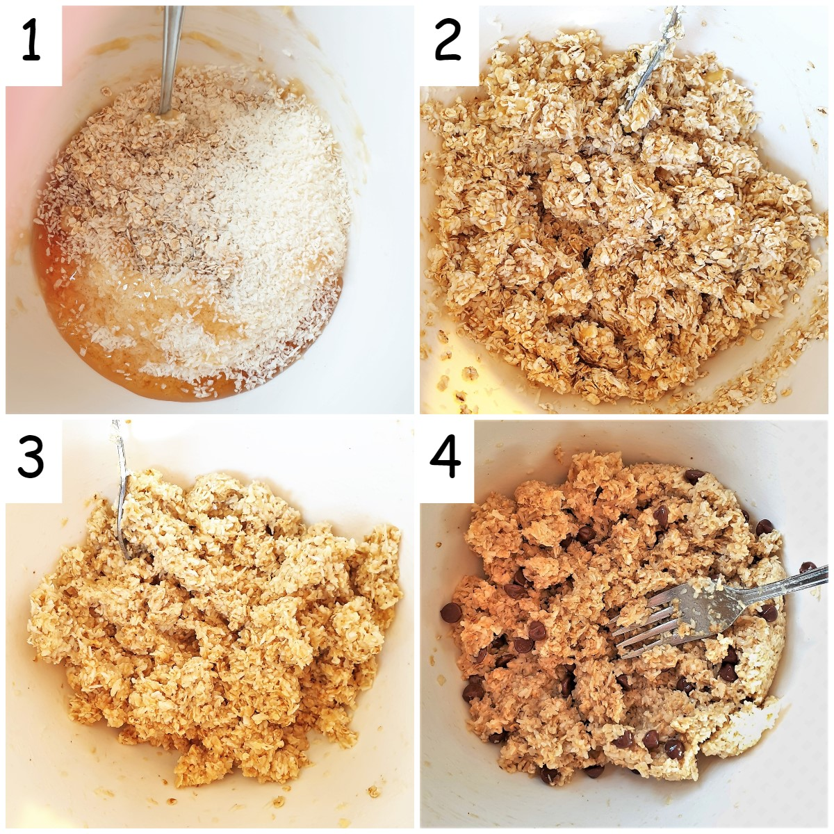 A collage of 4 images showing steps for mixing banana oat cakes