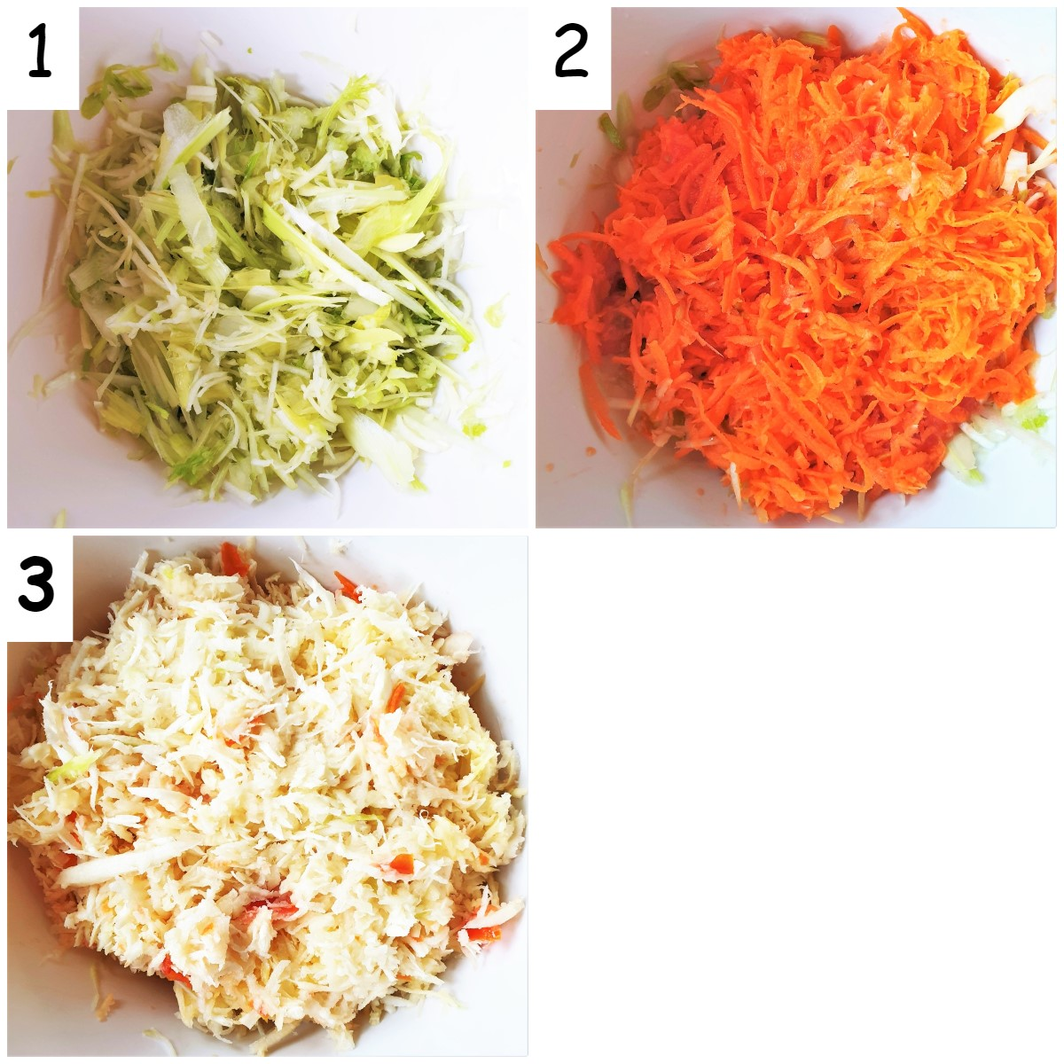 Three images showing shredded and grated vegetables.