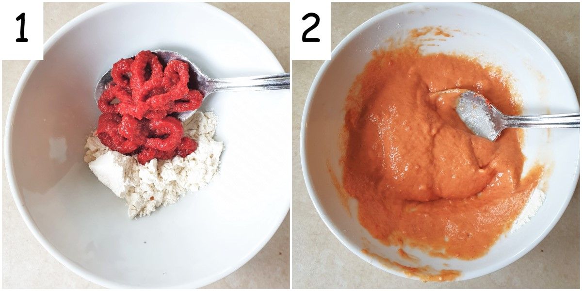 Two images showing how to mix the thickening agents for the soup.