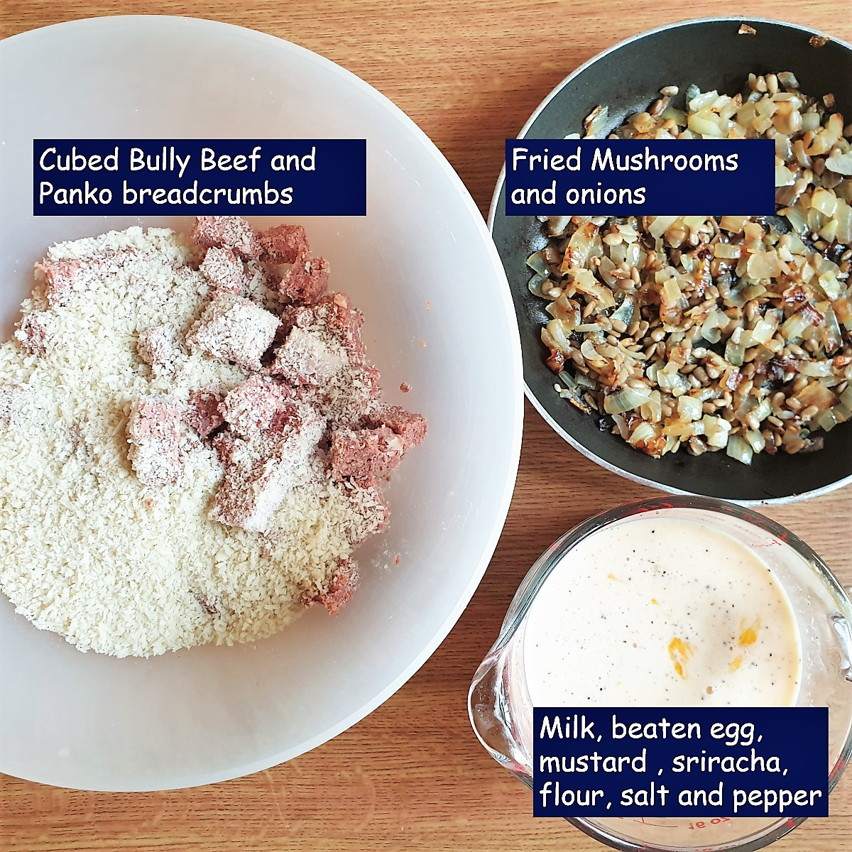 Ingredients for a crustless bully beef tart.