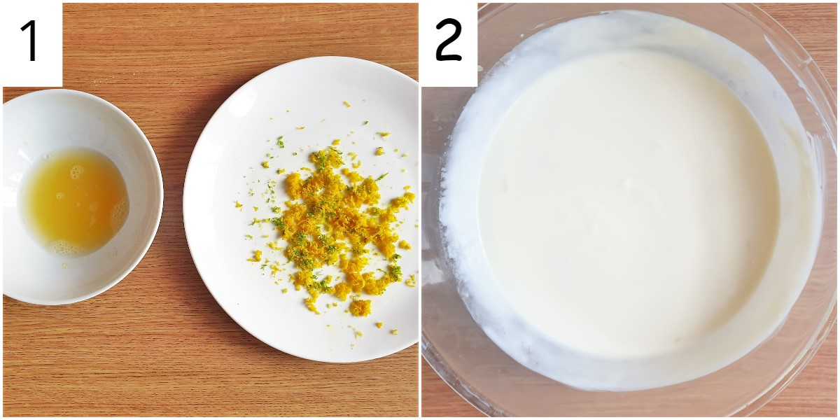 Two images showing juice and jest of  the citrus fruit, and also the yoghurt and condensed milk in a bowl.