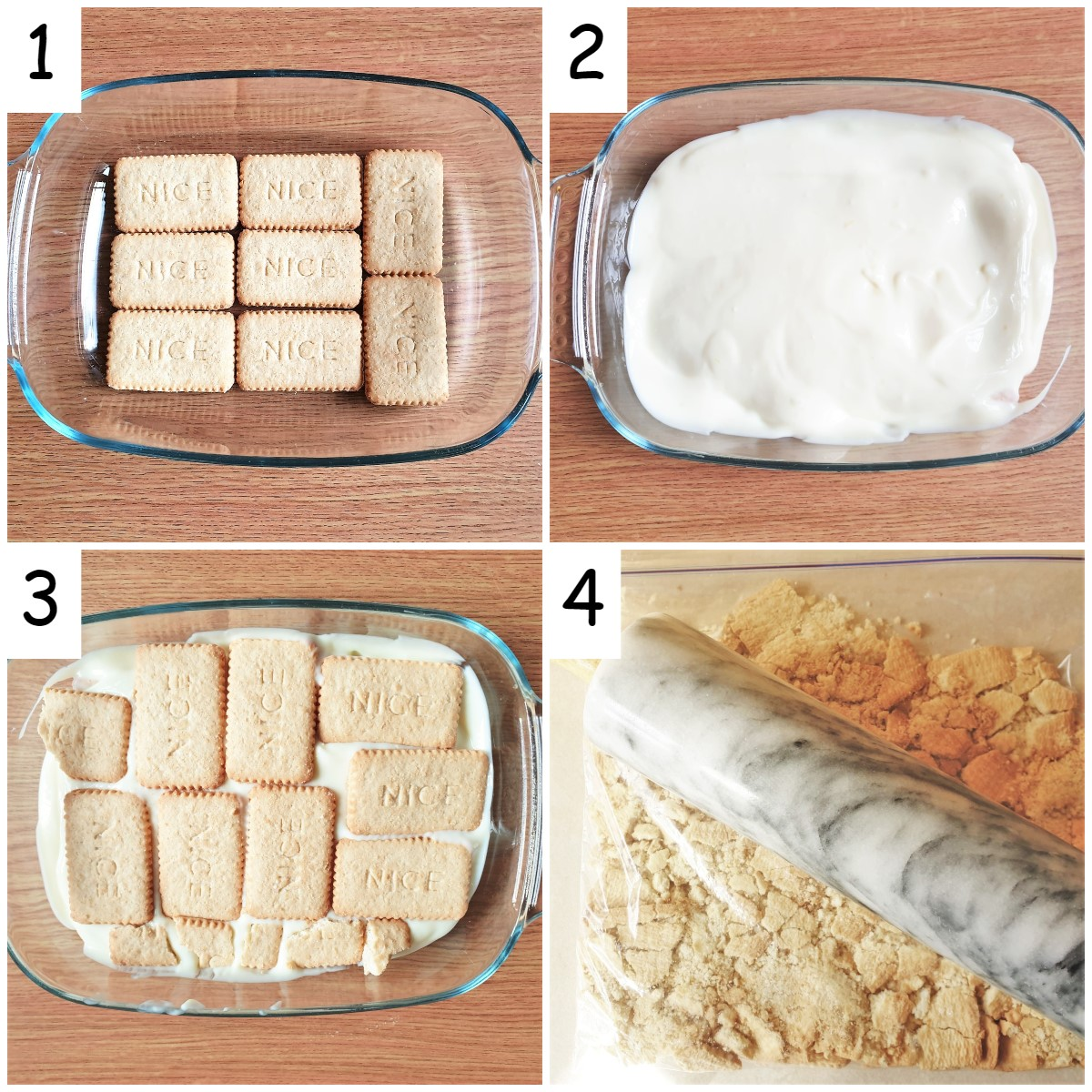 4 images showing steps for assembling the cheesecake.