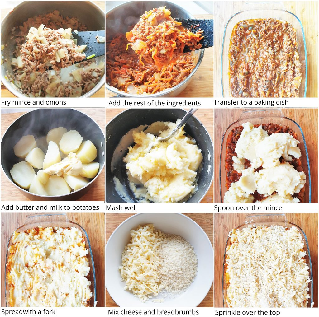 A collage of 9 images showing process steps for making a cottage pie.