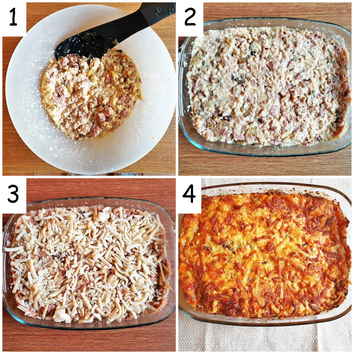 4 images showing steps for mixing a bully beef quiche.