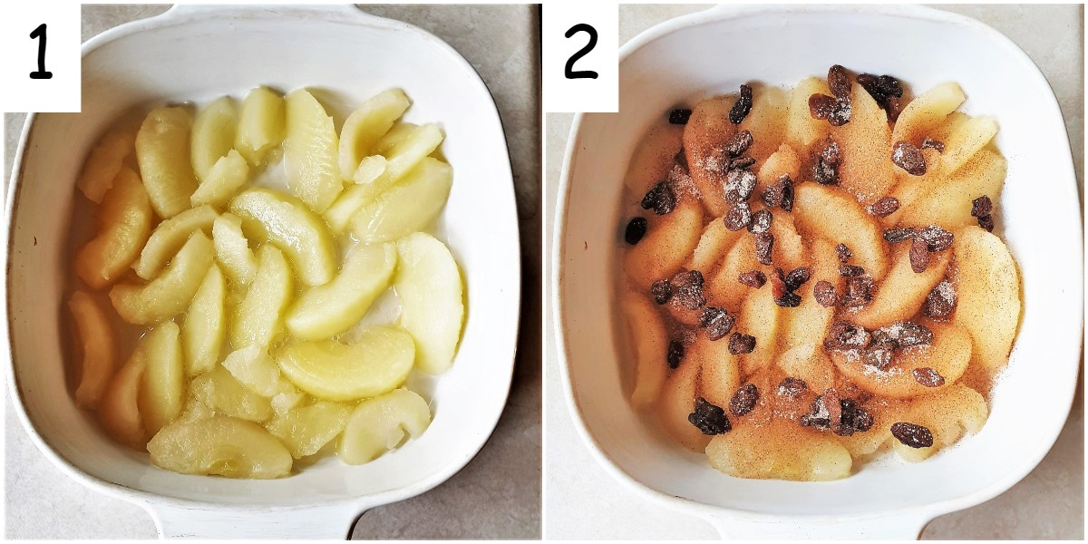 Two images showing a dish of apple slices, and the dish of apple slices covered with cinnamon sugar and sultanas.