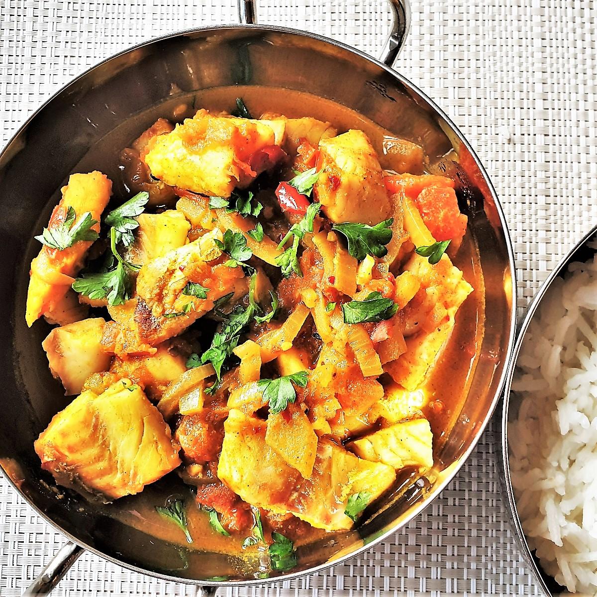 Fish curry in a balti dish.