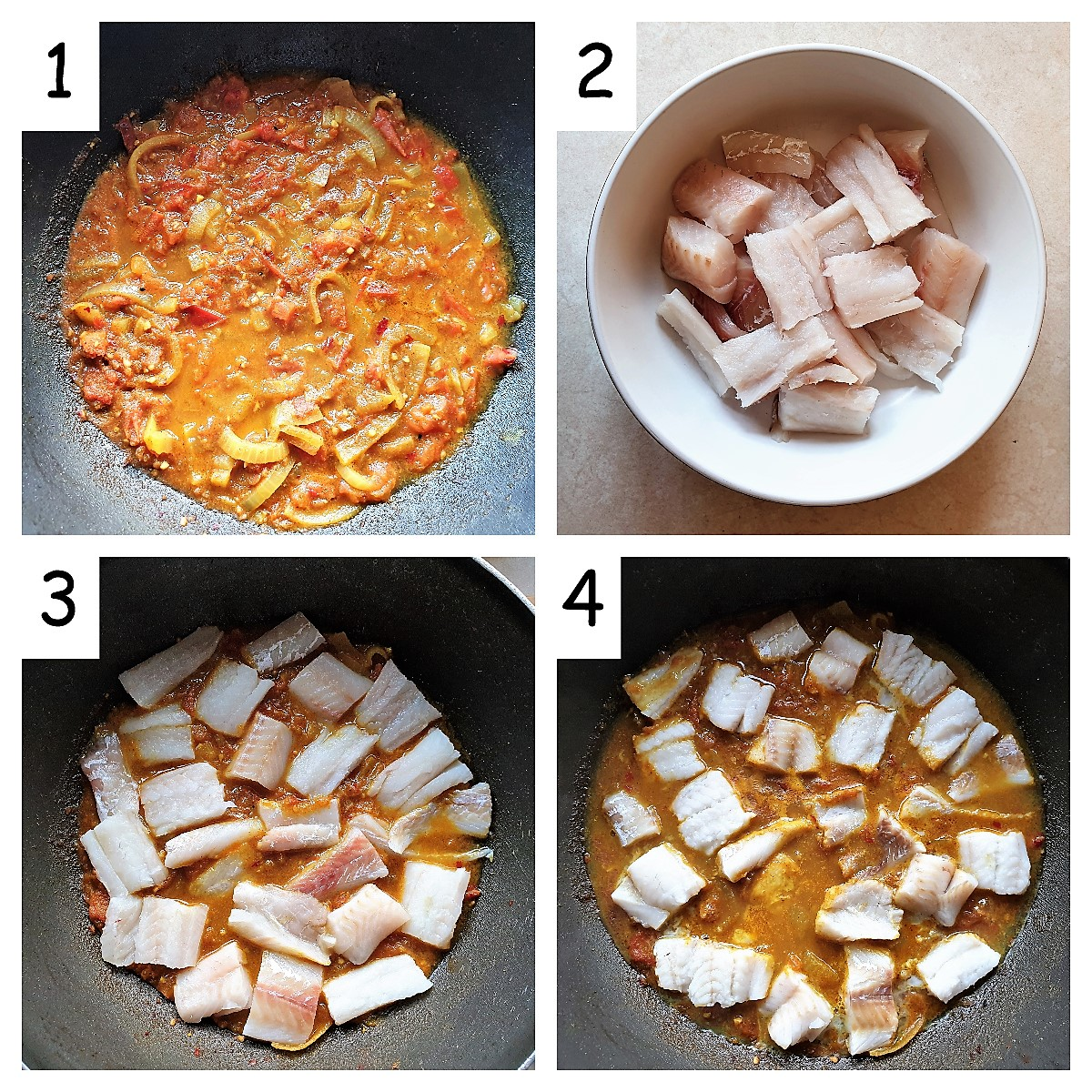A collage of 4 images showing steps to cook the fish in a curry sauce.