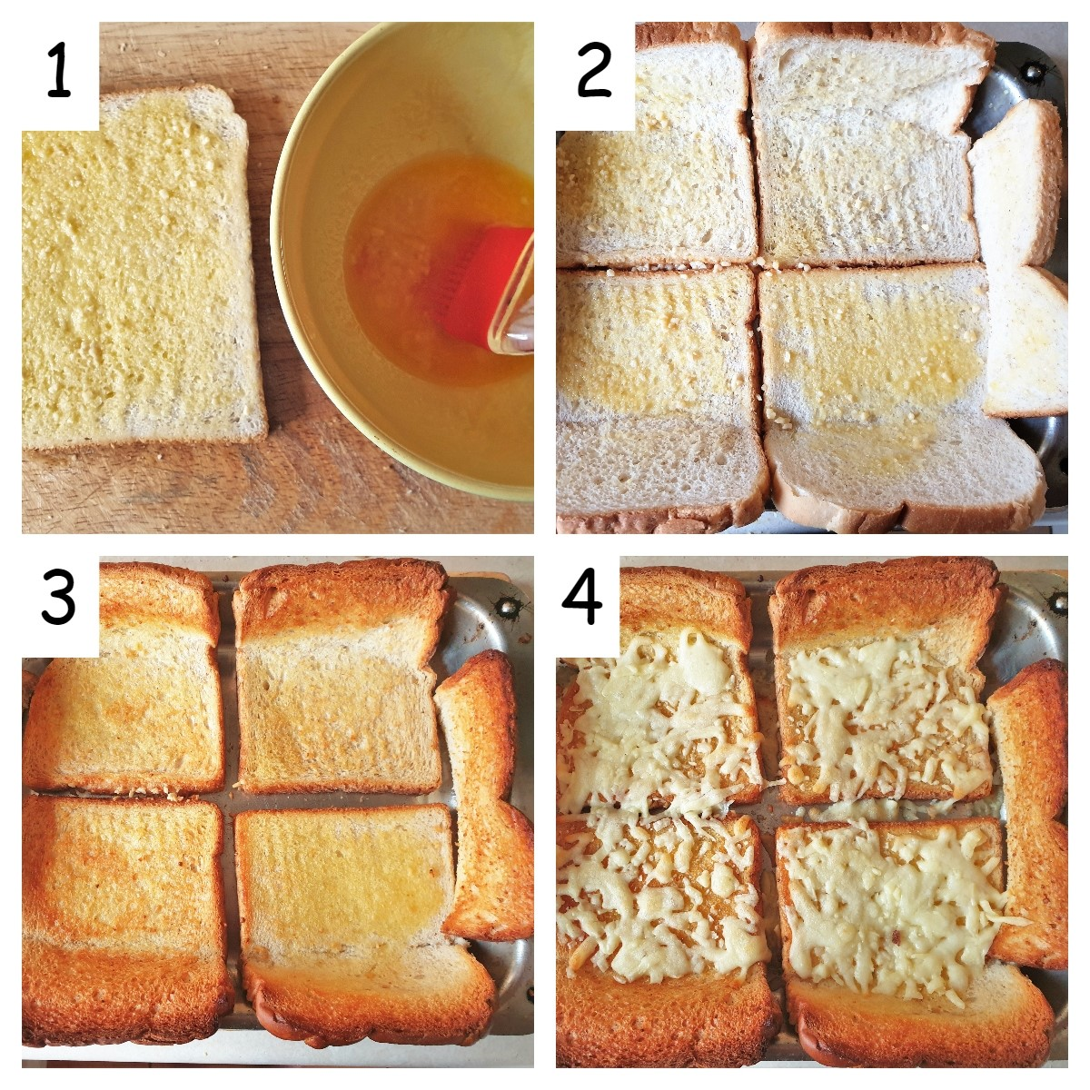 A collage of 4 images showing the garlic bread crust being prepared.