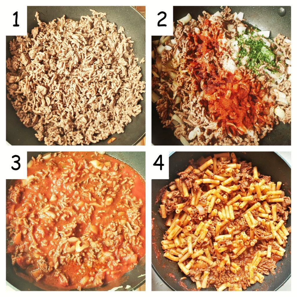 A collage of 4 images showing the meat sauce being prepared.