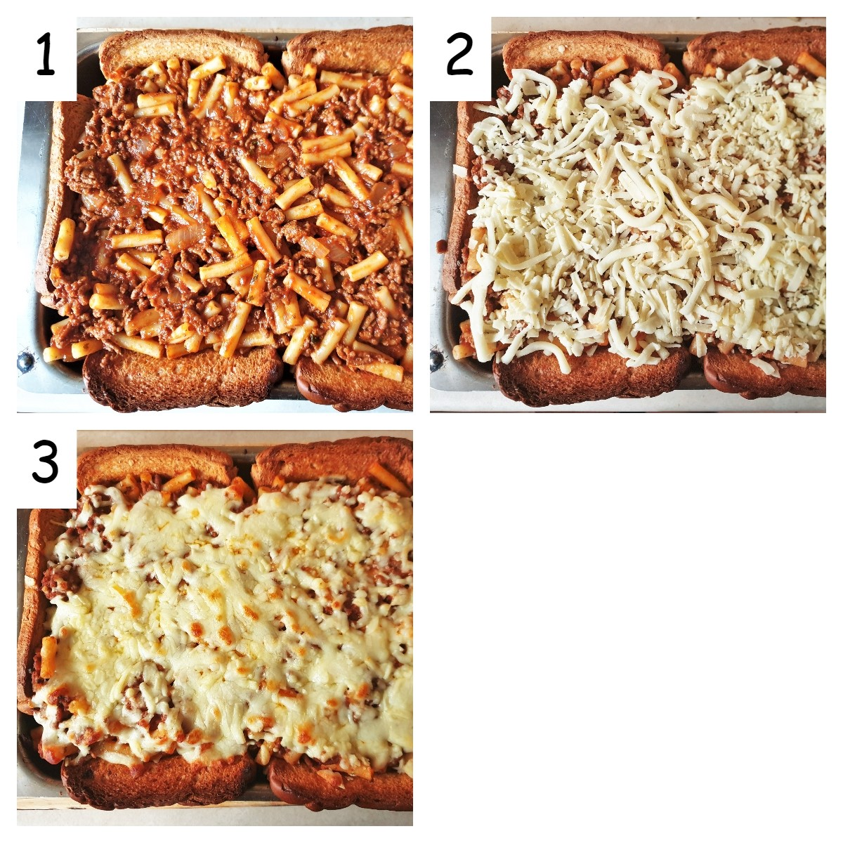 Collage of 3 images showing the garlic bread pasta pie being assembled.