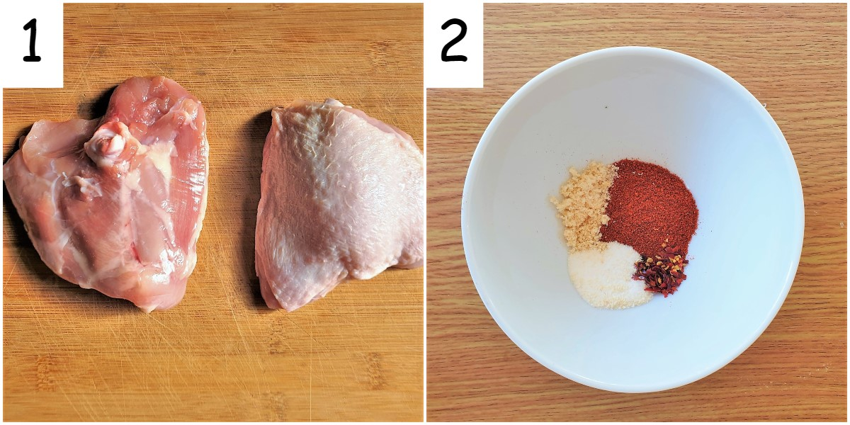 Two images, one showing two raw chicken thighs and the other showing a bowl of spices.