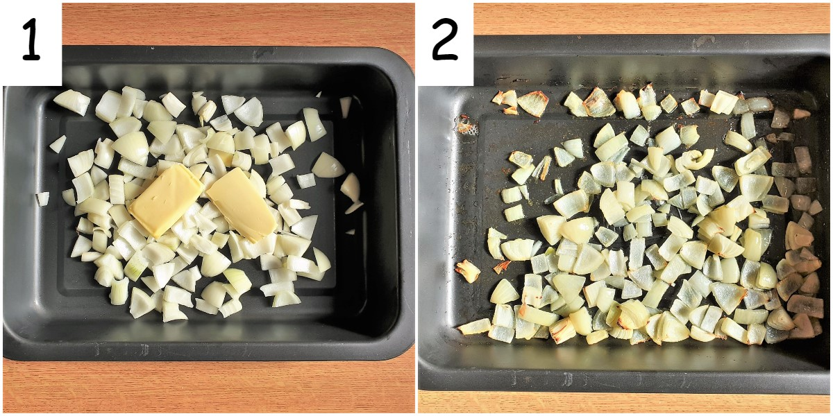 Two images showing chopped onions in a black baking tray.