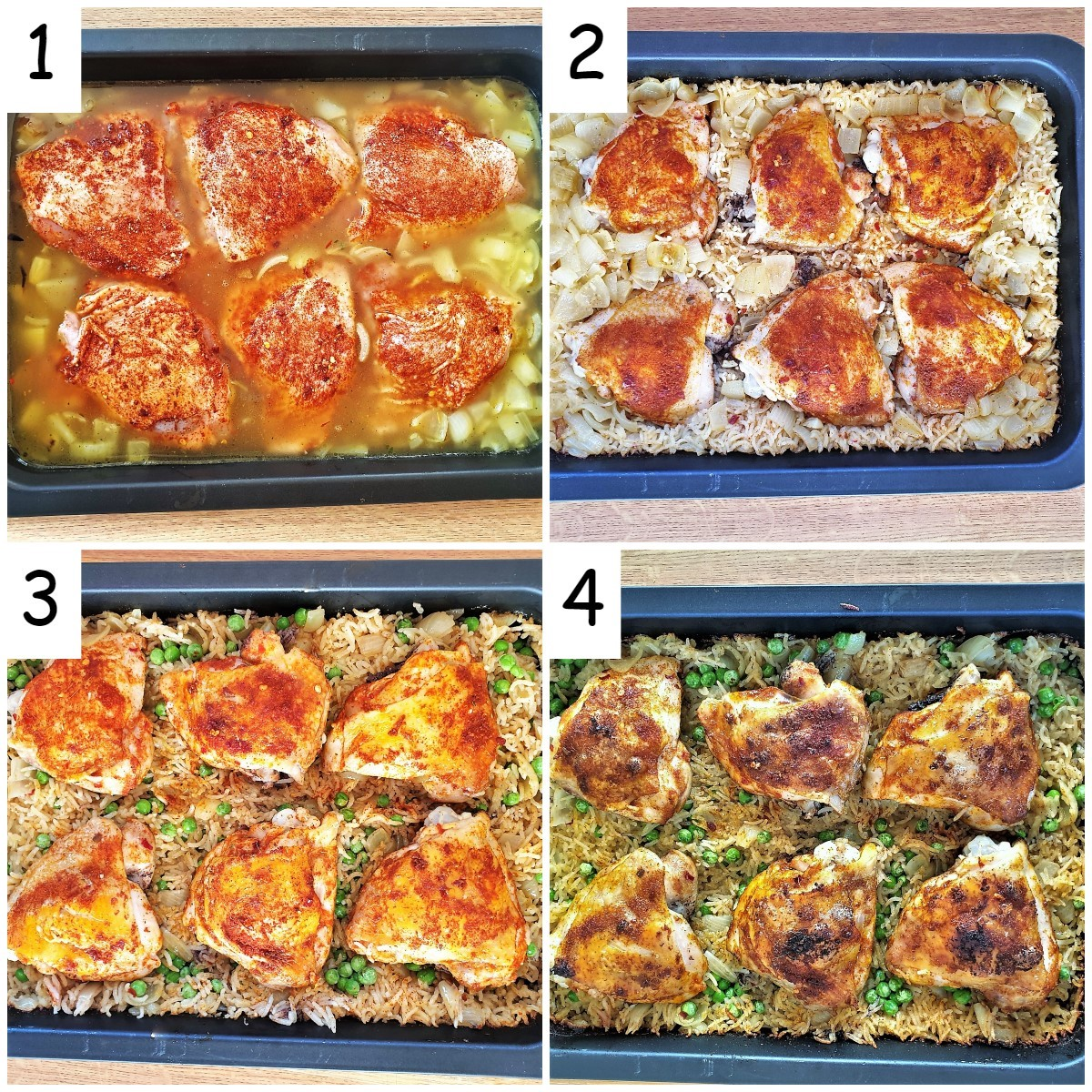 Four images showing the different stages of the chicken thighs being baked.