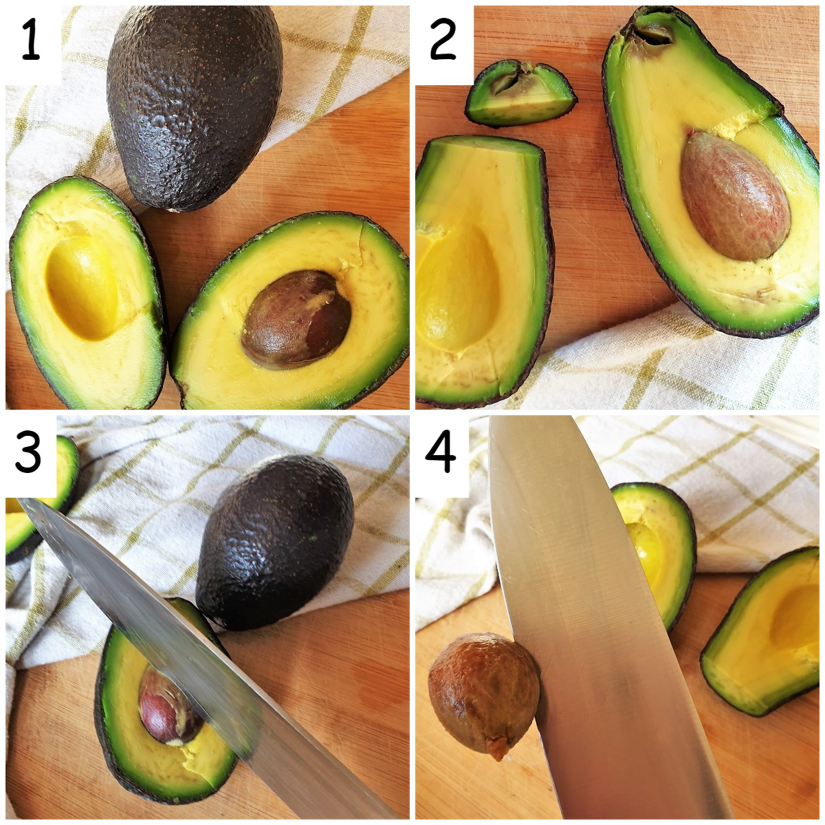 A collage of 4 images showing how to remove the pip from the avocado.