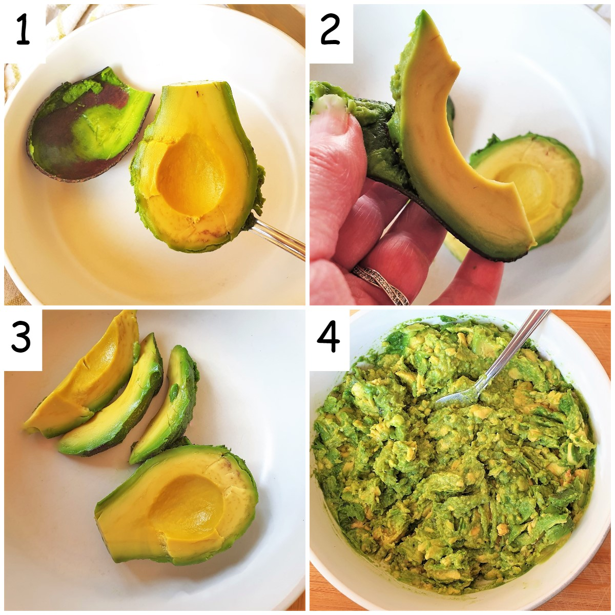 A collage of 4 images showing how to remove the skin from the avocado.