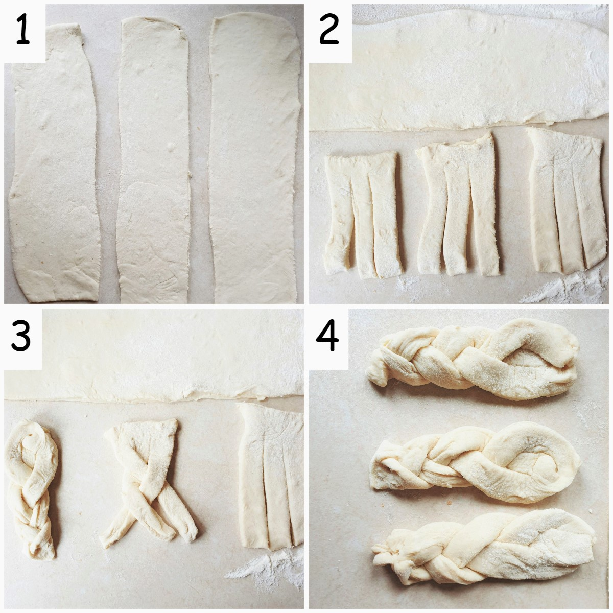 A collage of 4 images showing steps for rolling, cutting and braiding the koeksister dough.