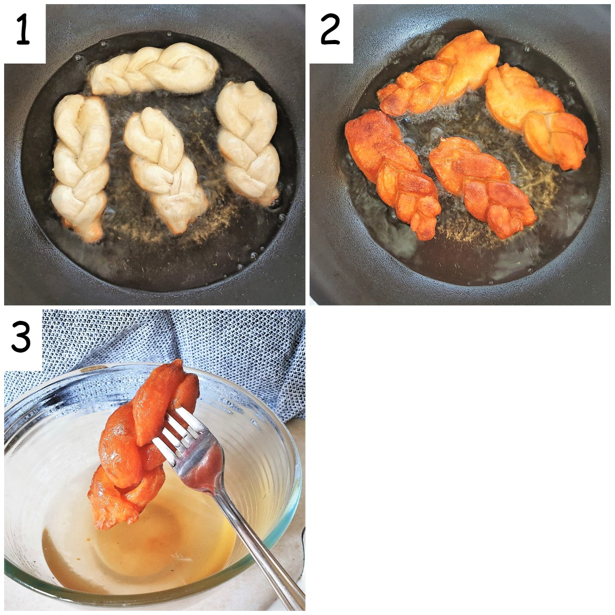A collage of 3 images showing steps for frying and dunking the koeksisters.