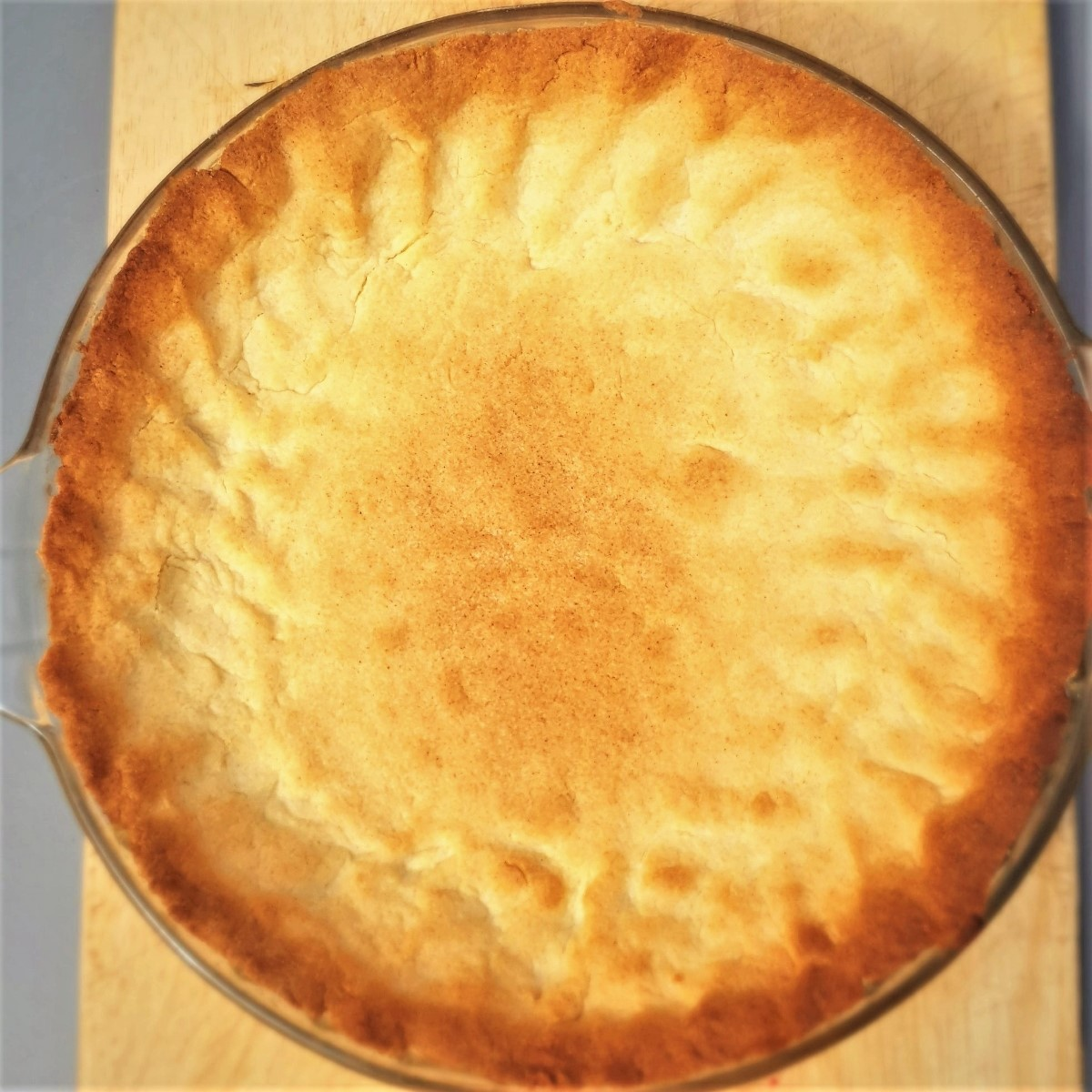 A baked pastry shell ready to be filled with the delicious milk tart filling.