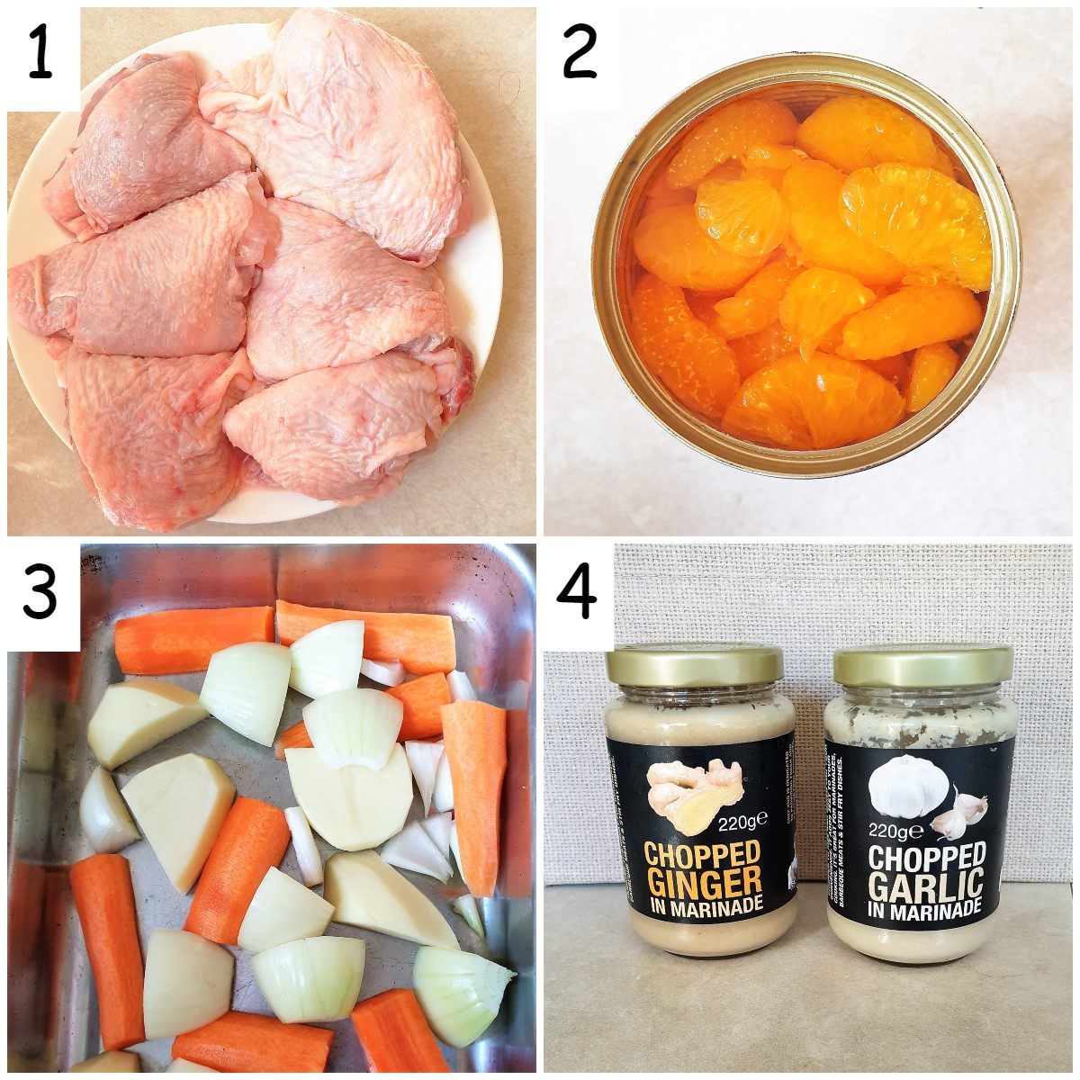 4 images showing the ingredients for orange chicken.  Chicken thighs, mandarin oranges, carrots and onions and ginger and garlic.