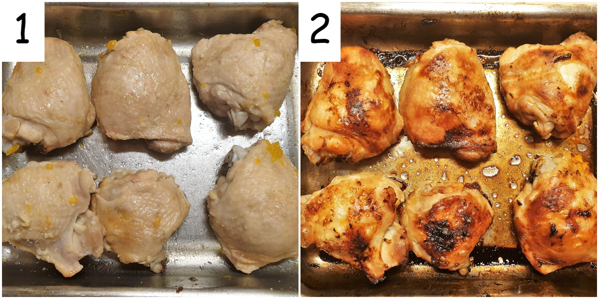Two images showing chicken thighs in a baking dish before and after being browned and crisped in the oven.