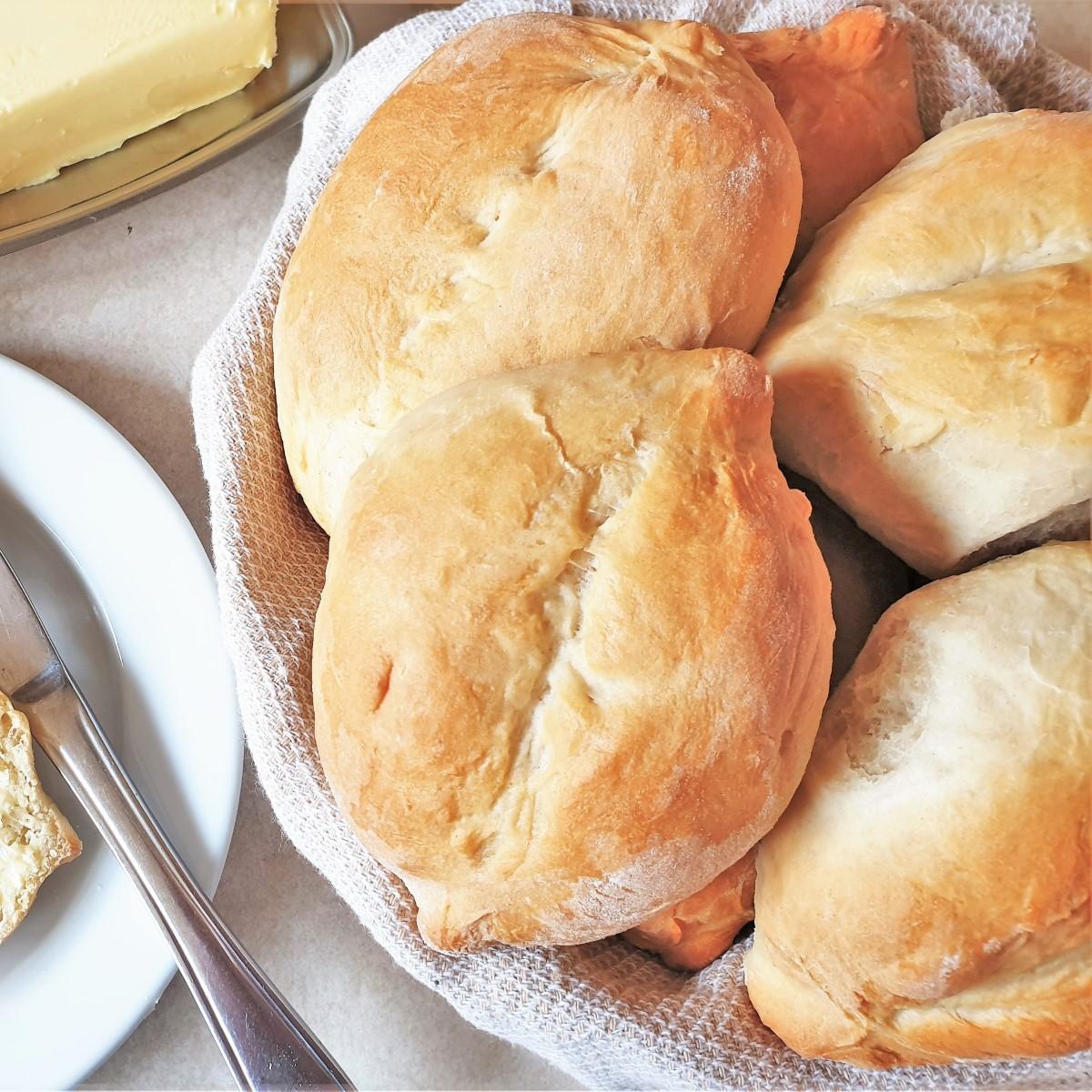 Portuguese rolls in a dish.