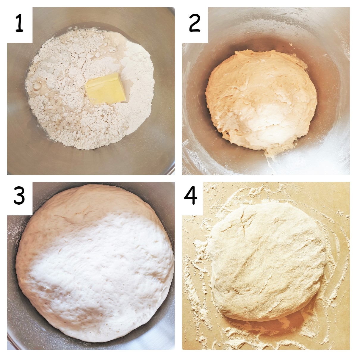 A collage of 4 images showing steps for mixing the Portuguese rolls.