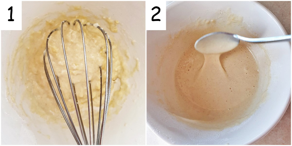 Two images showing steps for mixing the batter.