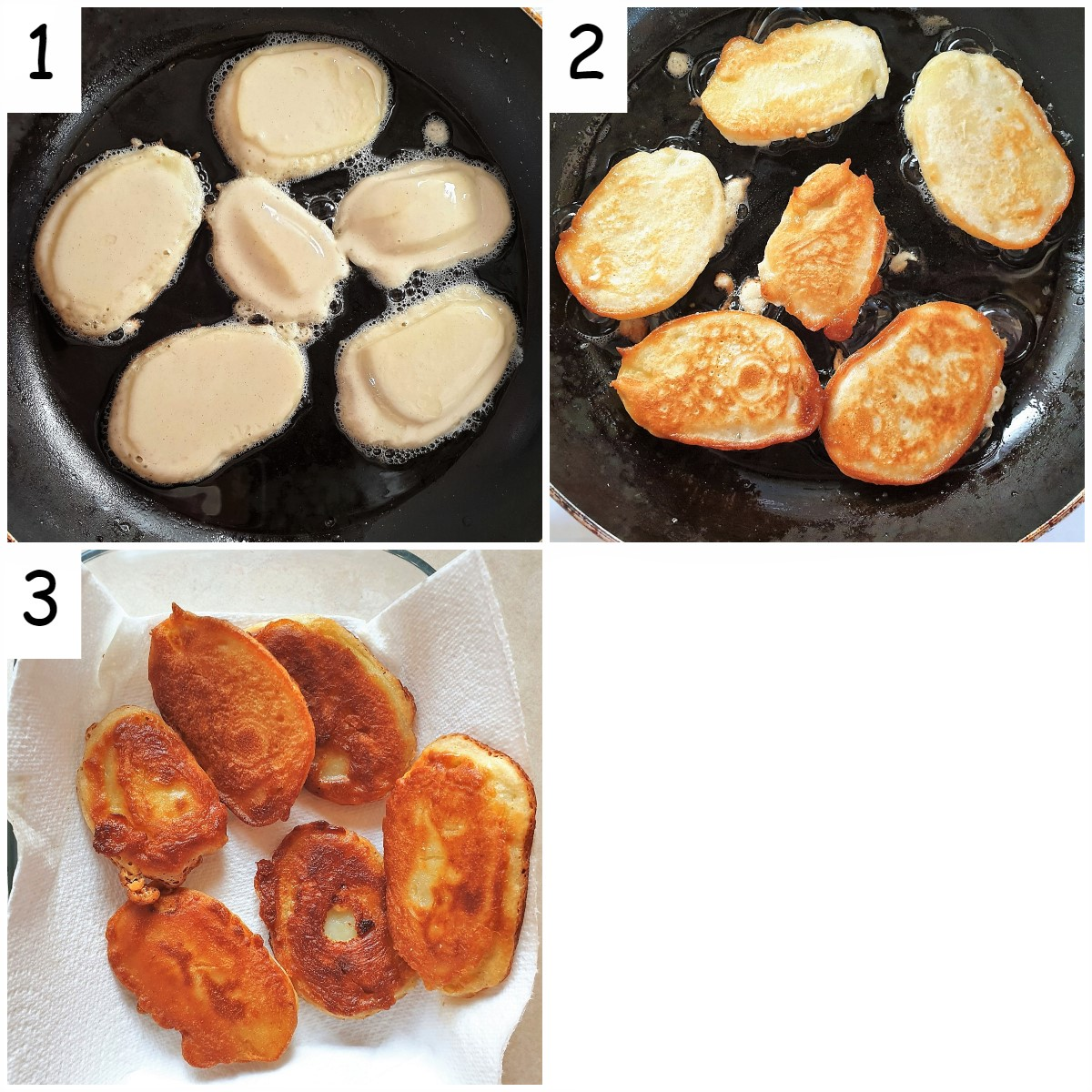 3 images showing steps for frying the scalloped potatoes.