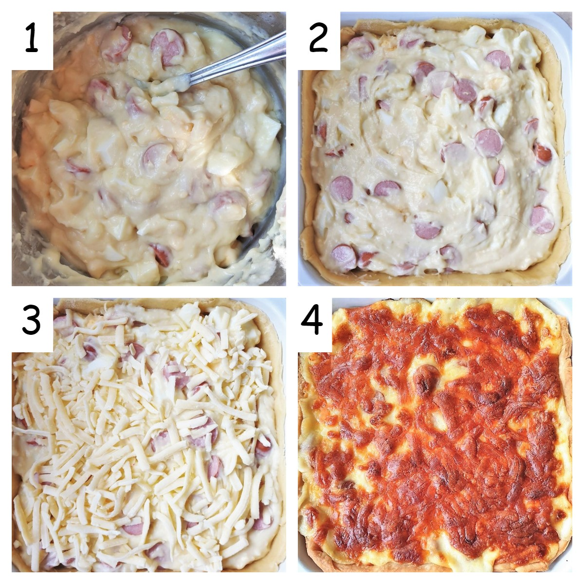 Collage of 4 images showing steps for assembling the tart.