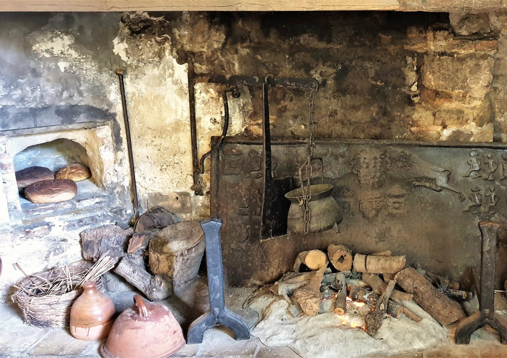The old fireplace in Oliver Cromwell's house, which is now a museum.