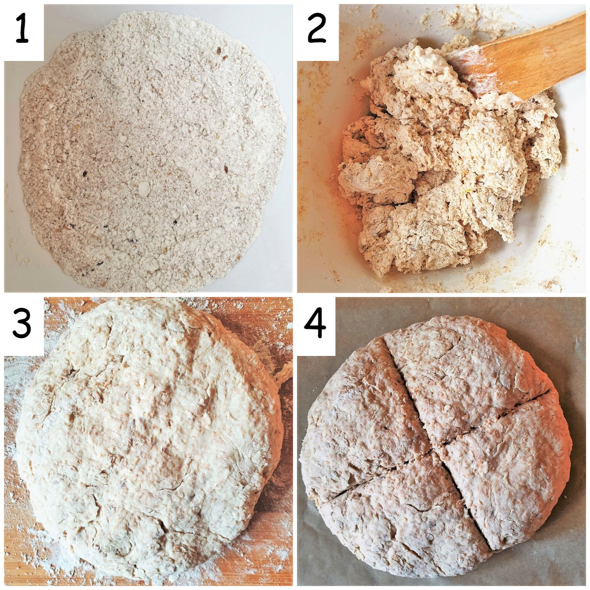 Four images showing how to make wholemeal bread.