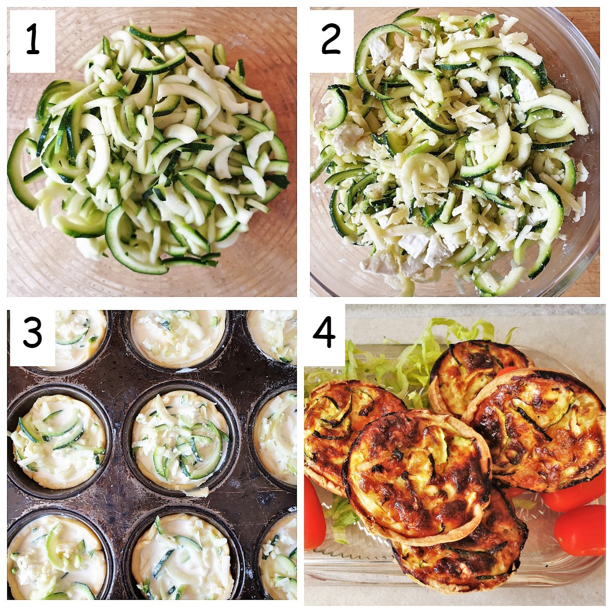 Collage of 4 images showing steps to make zucchini and goat cheese tarts.