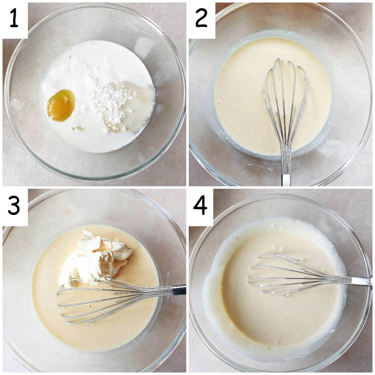 Steps for mixing the batter for the pear cake.
