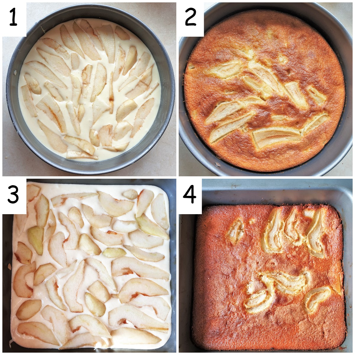 Collage of 4 images showing a round pear cake and a square pear cake in baking tins.