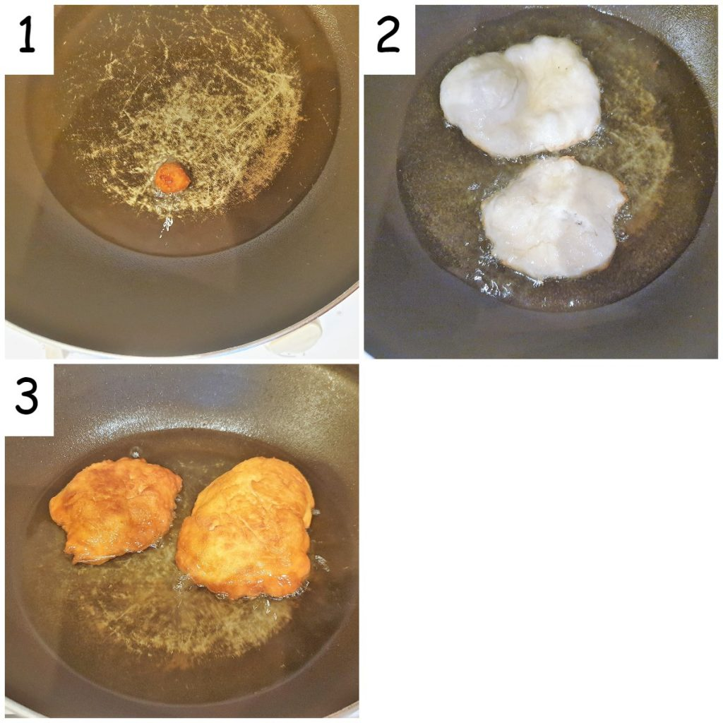 Three images showing steps for frying vetkoek.