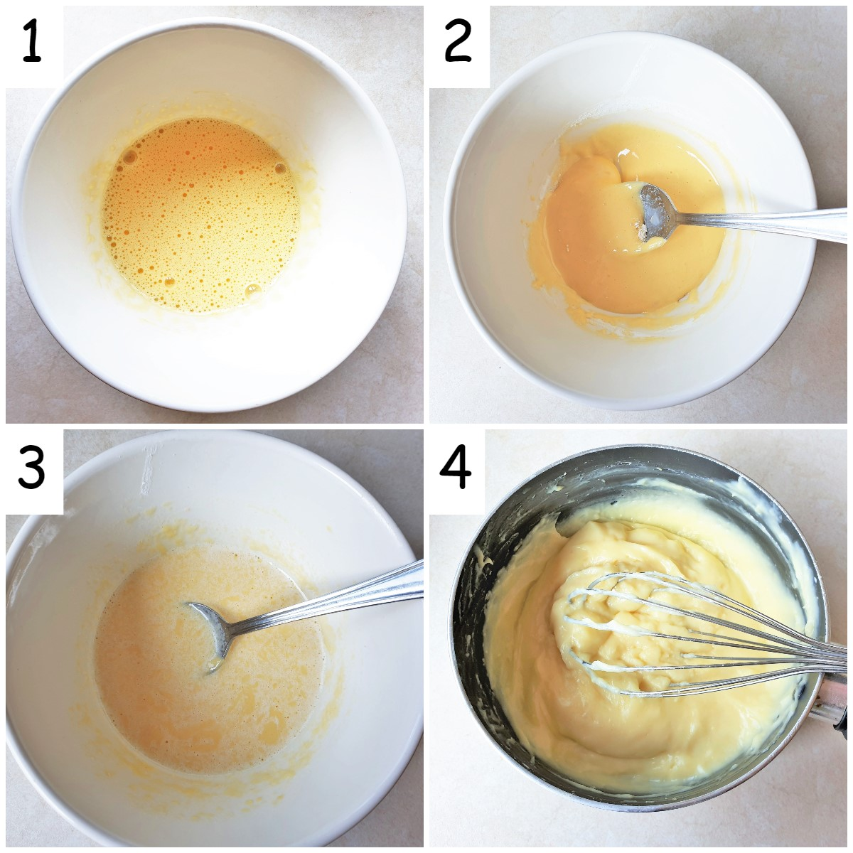 Steps for mixing the custard.