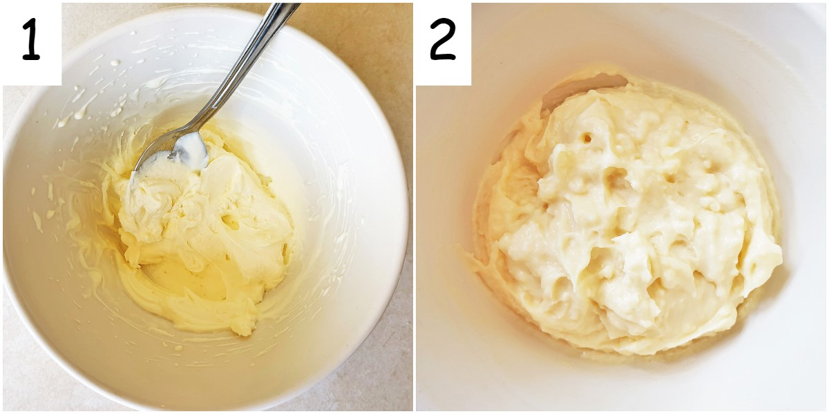 Steps for mixing cream with the custard.
