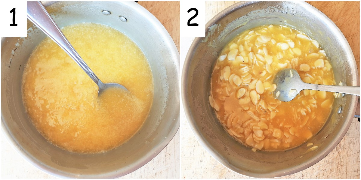 Steps for making the crunchy almond topping.