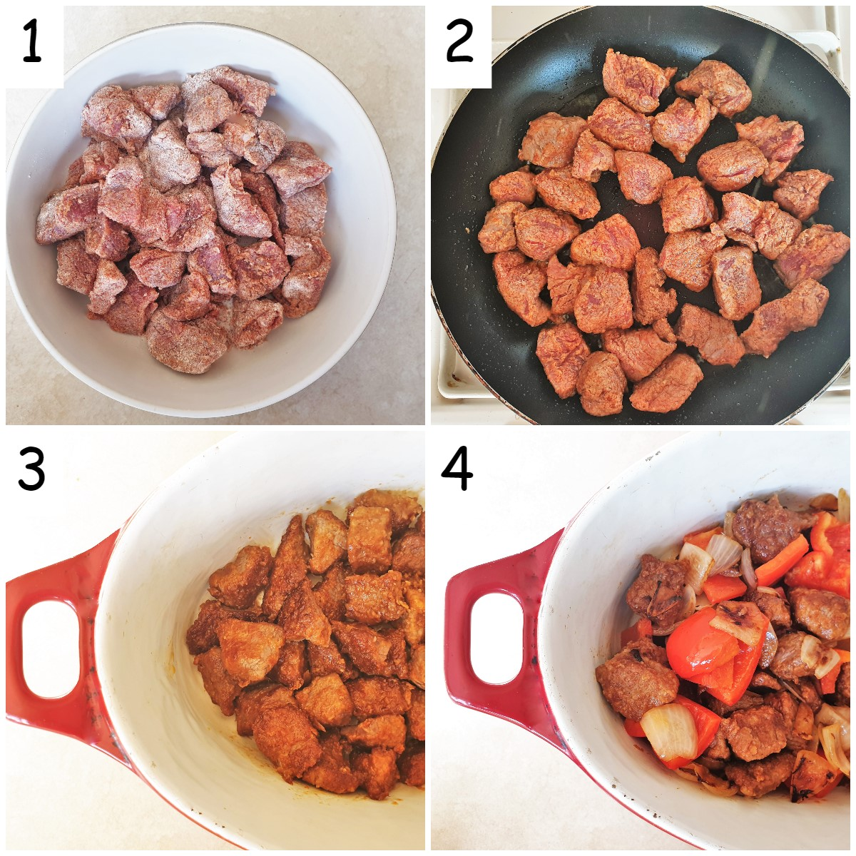 A collage of 4 images showing flour-coated beef being browned in a pan and then being placed in a casserole dish with softened onions and red peppers.