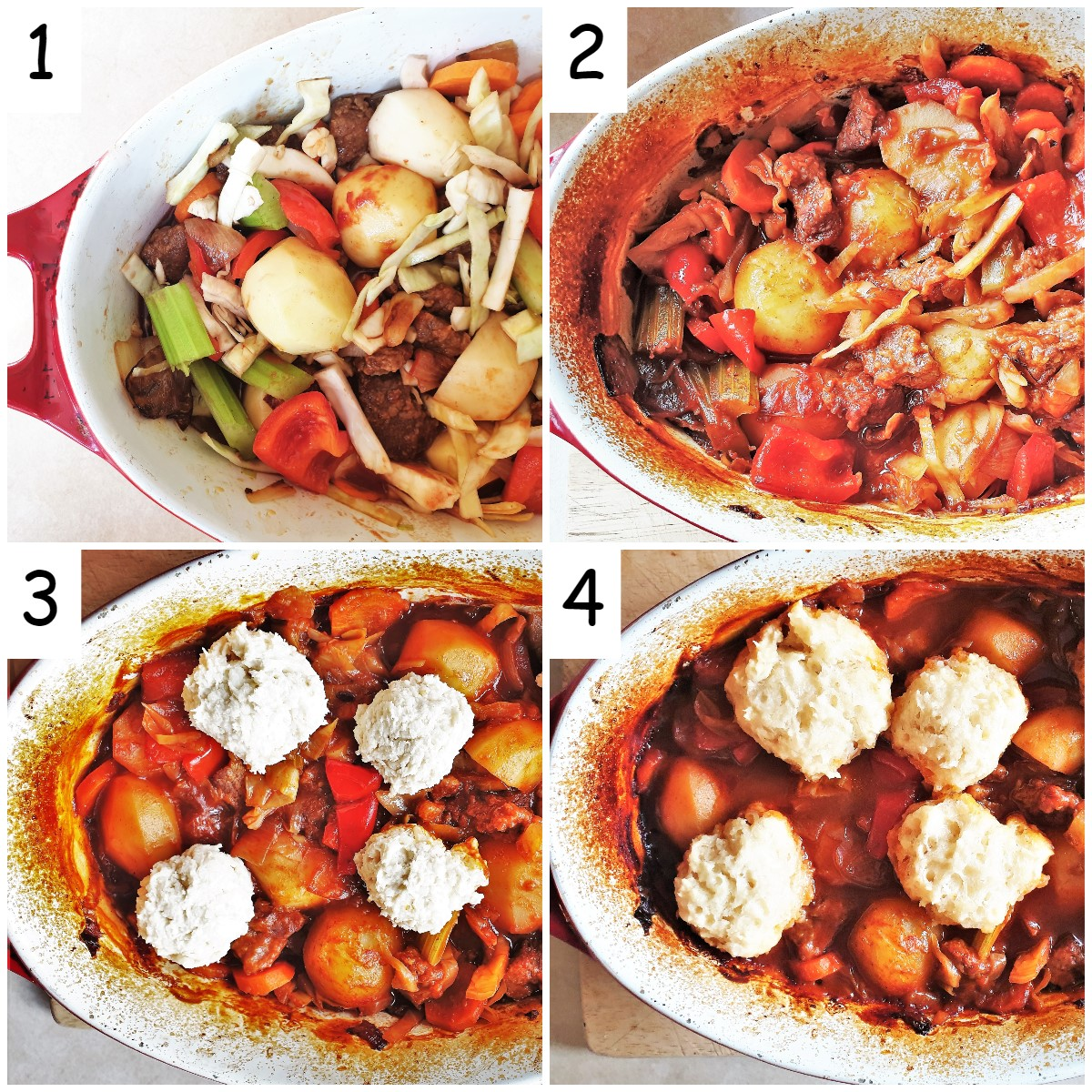 A collage of 4 images showing the stages of cooking the beef casserole and suet dumplings.