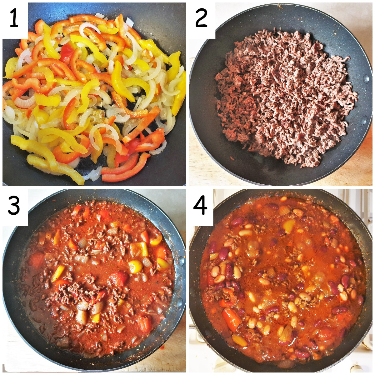 Steps for making chilli con carne