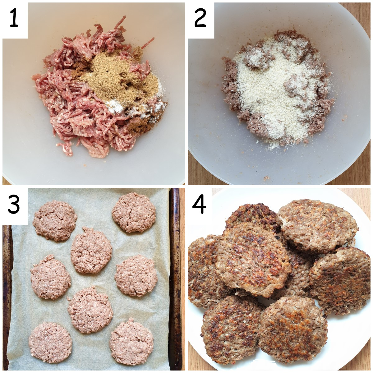 Collage of 4 images showing steps for mixing and forming boerewors patties.