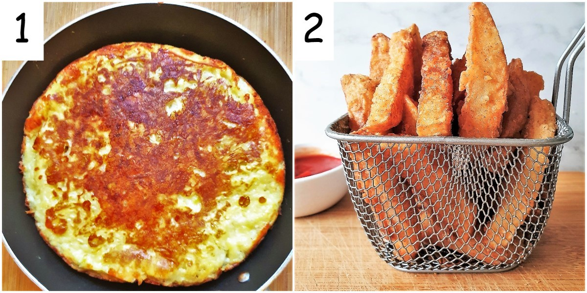 A potato frittata and a basket of crispy twice-fried french fries.