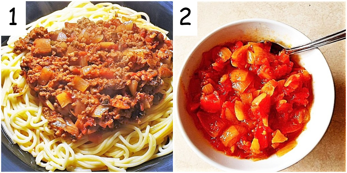A bowl of spaghetti bolognese and a bowl of homemade tomato sauce