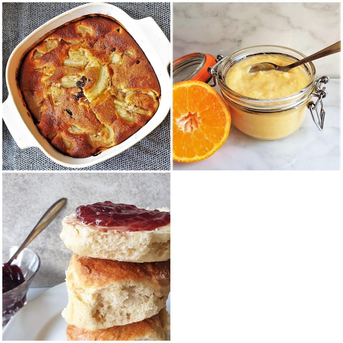 An easy apple cake, homemade orange curd, and a plate of 3-ingredient lemonade scones.