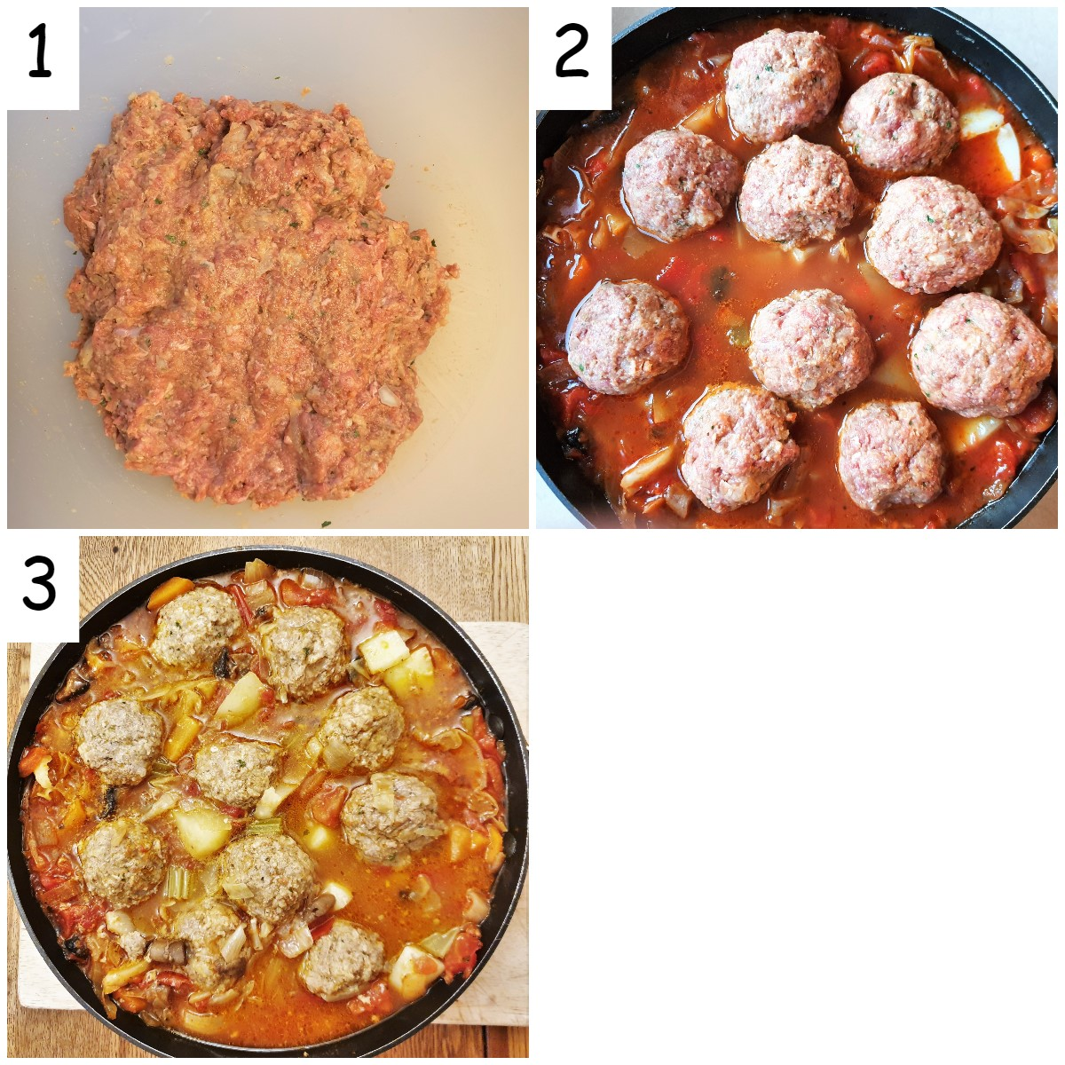 Steps for making the meatballs.