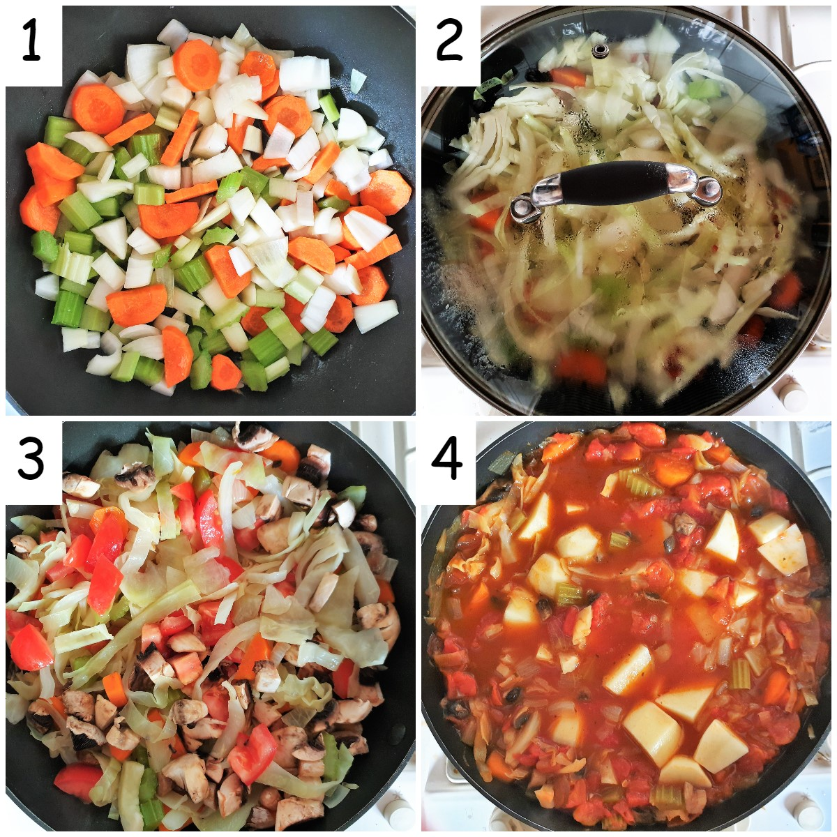 Steps for cooking the vegetables.
