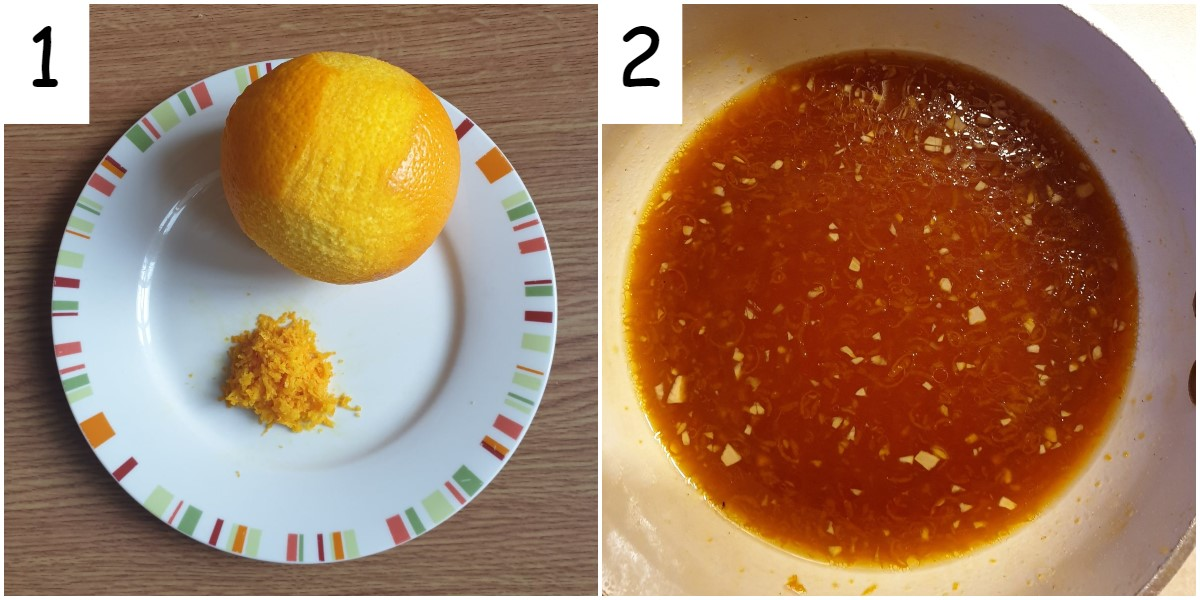 Two images showing a lemon being zested, and a bowl of the mixed orange sauce.