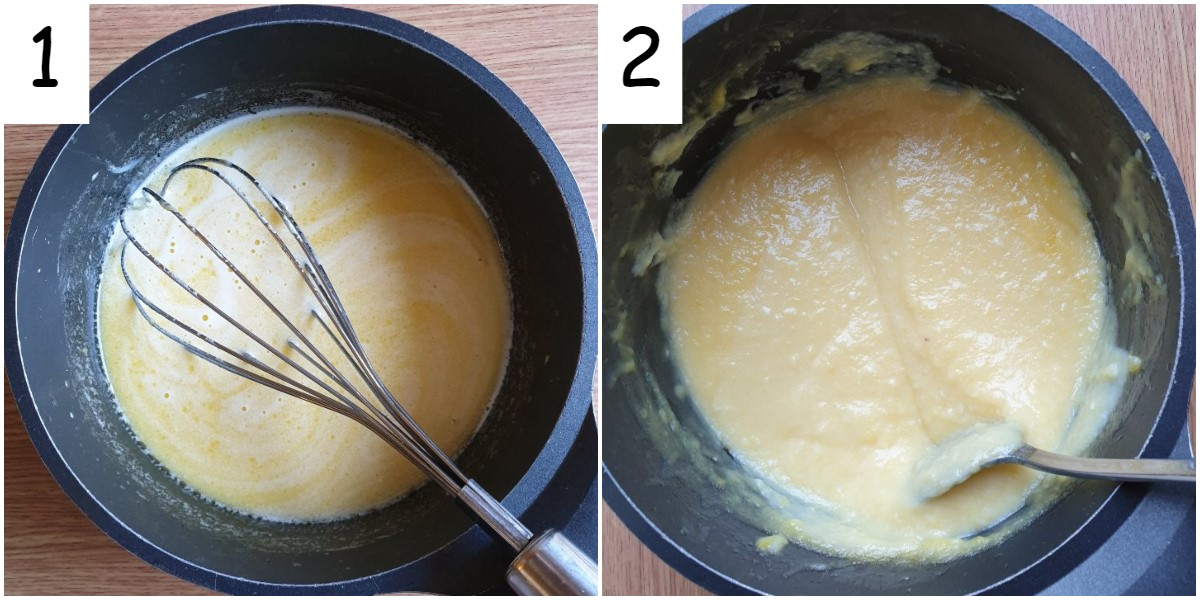 2 images showing how thick the orange curd should be as it cooks.