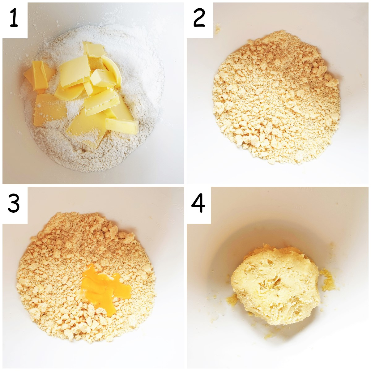 Four images showing steps for mixing pistachio butter biscuits.